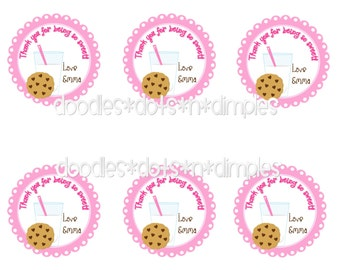 Personalized Printable Milk and Cookies Treat Bag Tags