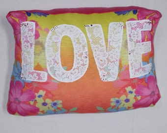 Love Throw Pillow Lace Floral Pink Yellow 11x17