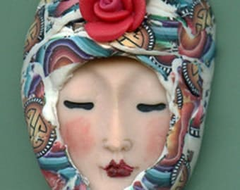 Polymer Clay OOAK   Detailed Asian  Art Doll Face with hat Cab  AAH 1