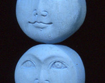 6 Medium Blue Faux Bone Polymer Moon Beads Top to Bottom Drilled OBLM 1