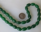 Green Jade Faceted Oval Beads 8x12mm Half Strand