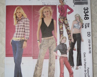 McCalls 3348 Sewing Pattern Low Rise Hip Hugger Pants Womens Size DD 12-18