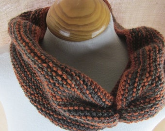 Rust Brown Striped Knit Pure Wool Cowl Scarf