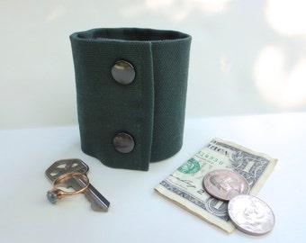 "Money Wrist Cuff- ""Secret Stash""-  Green Denim-  Hide your money, keys, jewels, health info, in a hidden inside zipper."