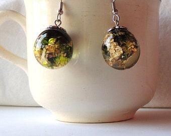 Resin sphere earrings - Resin Dangle Earrings
