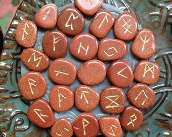 Goldstone Runes Rune Set gemstone divination tool with pouch and instructions