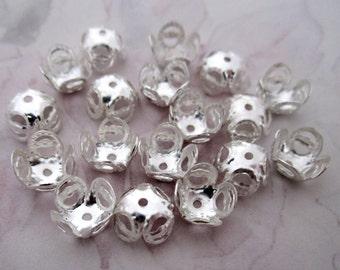 50 pcs. silver tone filigree bead caps 8mm - f4806