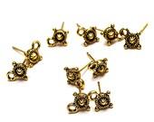 Antiqued Gold Sunburst Post Earrings- earring findings- jewelry supplies- jewelry findings- beading supplies- metal post earrings