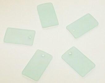 Coke Bottle Rectangle Sea Glass Pendants- recycled sea glass pendants- frosted glass pendants- cultured sea glass pendants- beach glass bead