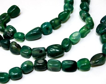 Green Agate Nuggets- medium size nugget beads- gemstone beads- semiprecious stone beads- dyed beads- organic beads- tribal beads