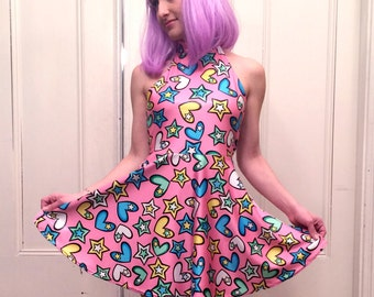 Party Pop Bubblegum Pink Halter Dress MADE TO ORDER