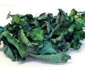 Silk Carrier Rods Hand Dyed - Forest Greens - Textured Silk for Embroidery Textile Art 50g