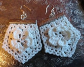 Cream Ivory Lace Crochet Flower Earrings Steampunk Wedding Sterling Silver Ear Wires