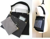 grey crossbody tote bag, laptop messenger bag, travel bag, carry on bag, cool bag,  school bag, detachable 3 section bag