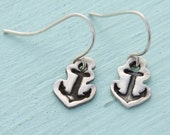 ANCHOR HOOK EARRINGS -  sterling silver posts handmade and illustrated by Chocolate and Steel
