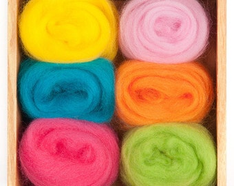 Tropical Wool Roving Color Pack for Felting - Corriedale