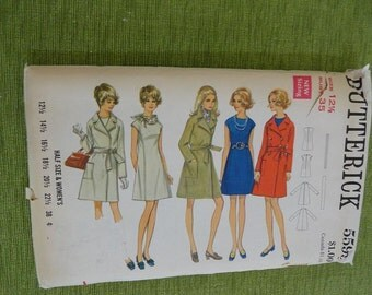Vintage 60s Butterick 5599 Womens Half Size One Piece Dress and Coat Sewing Pattern size 12.5 B35UNCUT