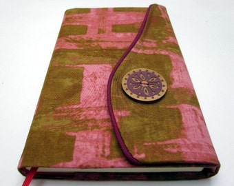 Moleskine 8 x 5 Notebook Cover, Refillable, Fabric, Coral Pink & Moss