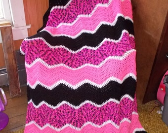 Crochet Ripple Afghan Blanket -Chevron-Ready to Ship-Large size/ Modern/ Pink Panther