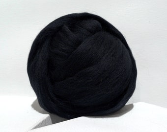 Black Merino Roving, Needle Felting wool, Spinning Fiber, Black, Merino wool, felting wool, black wool, black roving, black Merino