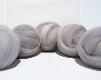 Dove Grey wool roving, Felting wool, begginer Spinning Fiber, grey roving, gray light ash smoke silver hand dyed