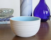Blue Pottery Bowl Second - Discounted Ceramic Groove Rice Bowl in Sky Blue SHOP SALE