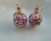 Pink Earrings Venetian Murano Glass Pink Fiorato Earrings