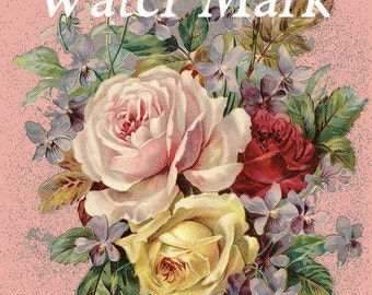 Digital download instant,Glorious roses on pink*Collage,sewing.ornaments,tags,cards