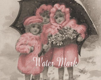 Digital Download Instant*Three little darlings in the snow pink tint*INSTANT digital download,Collectible*pink*cards,tags more