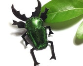 Metallic Green Leather Stag Beetle Brooch