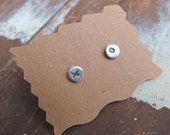 teeny Tiny Silver Earrings Studs Post Earrings XO Love Sterling Button Funky stamped silver stud earrings Hugs & Kisses