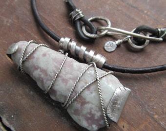 Mens womans Silver Necklace Leather Rustic Rough Stone Pendant Badass Unisex Rocker necklace