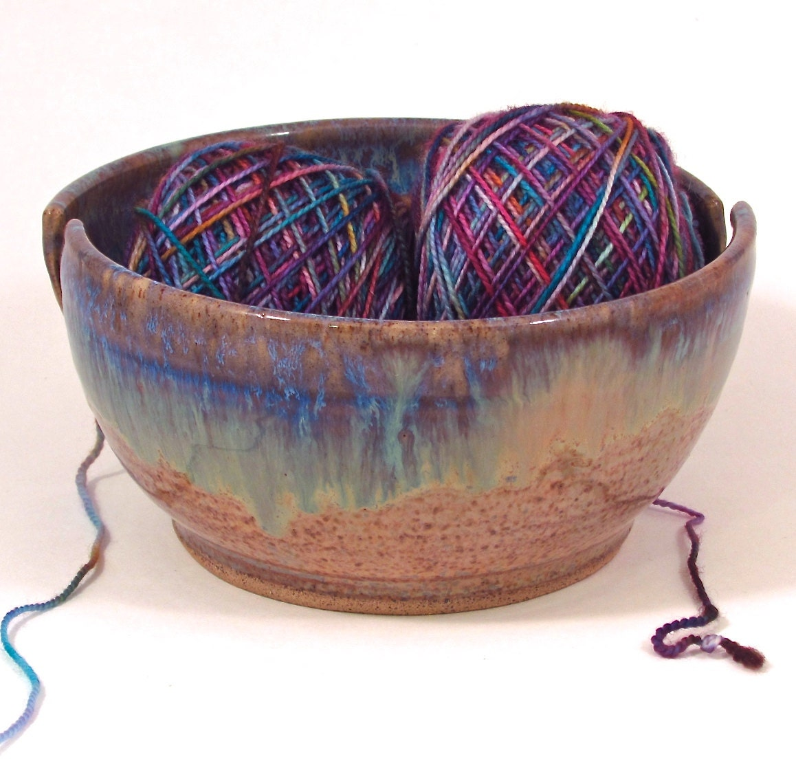 Knitting Bowl Canada : Double slotted yarn bowl in beach by risingsunearthworks
