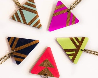 Single Arrow Necklace Brights/ Wood Triangle Pendant/ Long Layering Necklace/ Bright Colors/ Geometric Patterns
