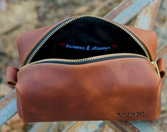 Whiskey Leather Toiletry Bag Travel Shaving Dopp Kit with Free Monogram and Optional Interior Message Gift for Man Groomsmen Groom Wedding