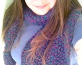 Teal and Purple Hand Knit Scarf - Cozy and Warm, Makes a Great Gift, Perfect for winter