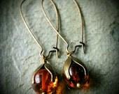Amber dew drop earrings