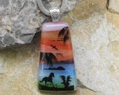 Scenic Dichroic Pendant, Horse Jewelry,  Landscape Pendant, Beach Jewelry, Rainbow Glass Pendant,  Fused Glass Jewelry -  Horse on the Beach