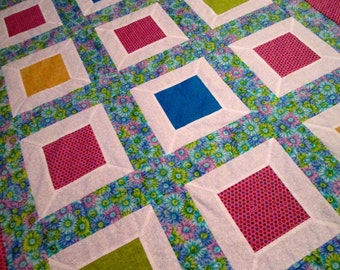 Finished Quilt Top, Quilt Kit, All Cotton, Bright Colors, Hand Pieced Lap Quilt, 41x52 Quilt Top Plus Binding Fabric, FREE Shipping U.S.