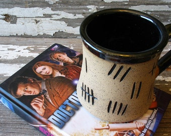 Tally Mark Mug - Silence Will Fall - Tardis - Pottery Mug - The Silence - Handmade Fan Art -  Doctor Who Inspired - SALE