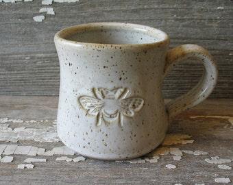 Bee Mug - Handmade Pottery Bee Mug - White Bee Mug - Tea Cup - Stoneware Mug - Coffee Cup
