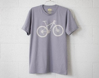 MOUNTAIN BIKE Large mens tshirt stone bicycle on slate Large