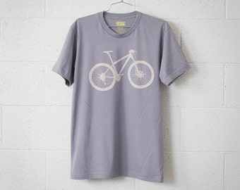 MOUNTAIN BIKE Medium mens tshirt stone bicycle on slate
