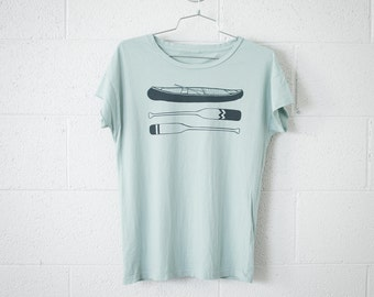 Women's Medium Canoe Paddle Tee, Forest Green on Light Jade