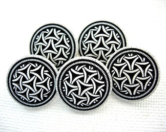 Five Neat Fancy Designed Black and White Plastic Buttons