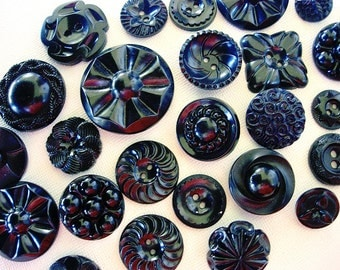 Sweet Lot of Various Vintage Black Plastic Flower Designed Buttons