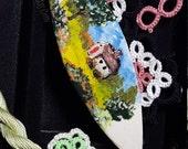 Ceramic Tatting Shuttle with Handpainted Scene School House
