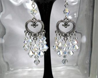 Clear Crystal AB Chandelier Swarovski Earrings-Wedding-Prom-Dressy-Bridal-Sparkly