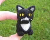 Needle Felted Black and White Cat Sebastian the Kitty