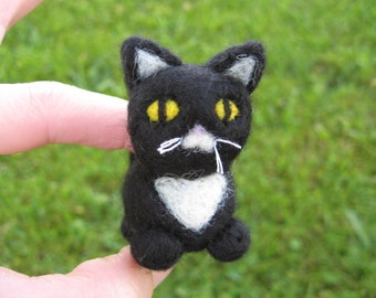 Needle Felted Black and White Cat Sebastian the Kitty